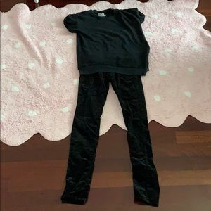 Maternity Top+velvet black jeans PERFECT condition